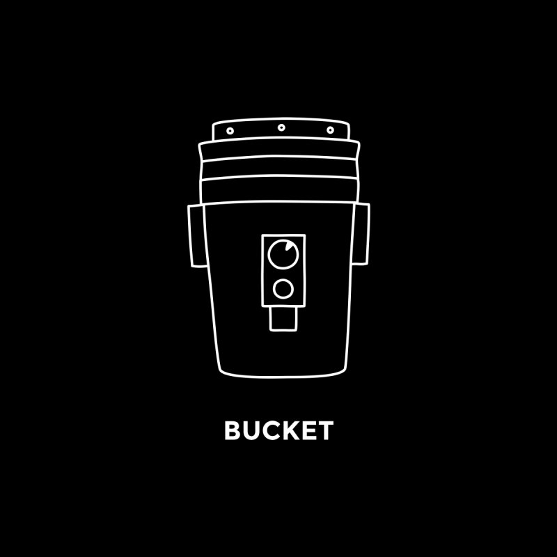 Space Bucket - 20gal Bucket white Home Stretched Canvas by spacebuckets's Artist Shop