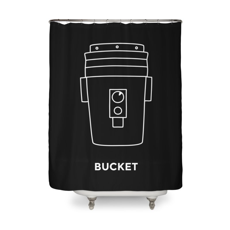 Space Bucket - 20gal Bucket white Home Shower Curtain by spacebuckets's Artist Shop