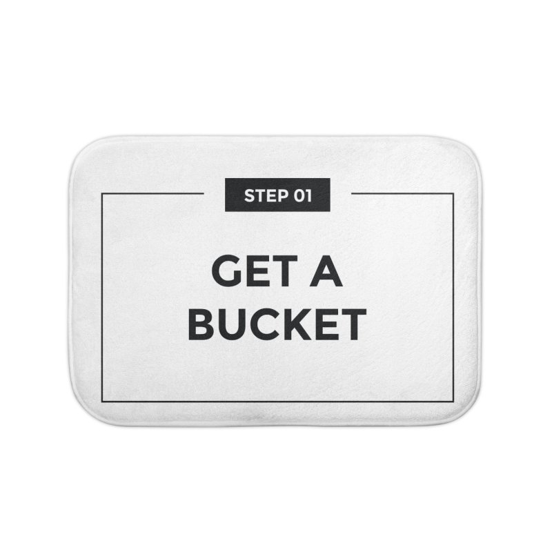 Get a bucket - white Home Bath Mat by spacebuckets's Artist Shop