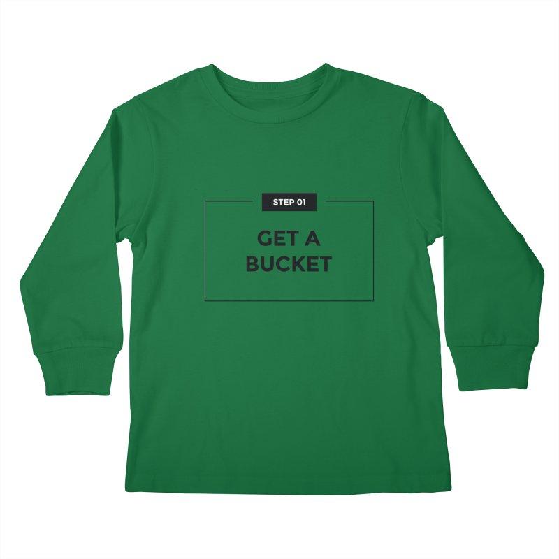 Get a bucket - white Kids Longsleeve T-Shirt by spacebuckets's Artist Shop