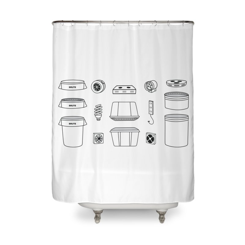 Bucket Builder Home Shower Curtain by spacebuckets's Artist Shop