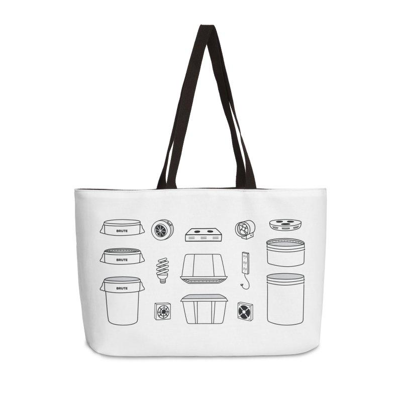 Bucket Builder Accessories Weekender Bag Bag by spacebuckets's Artist Shop