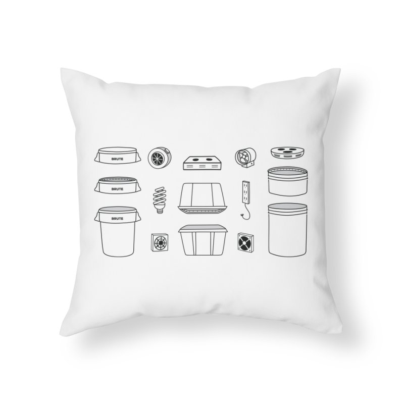 Bucket Builder Home Throw Pillow by spacebuckets's Artist Shop