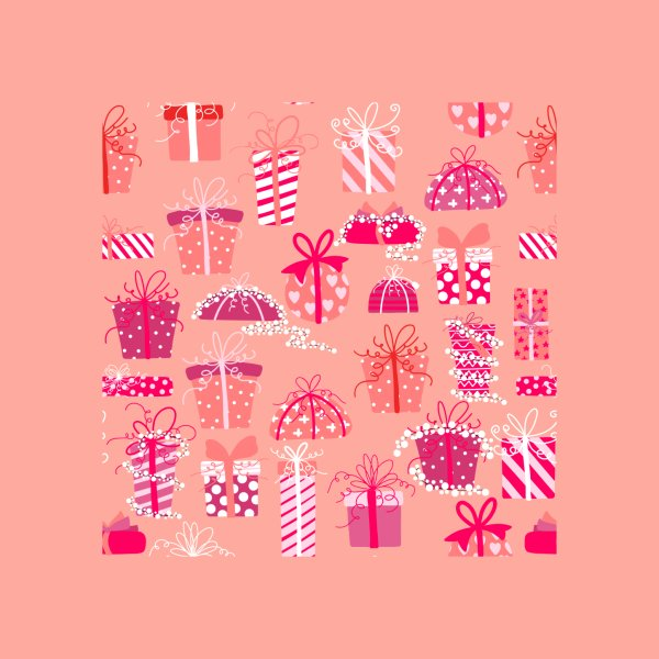 Design for Pink Christmas Presents Pattern with Christmas Lights