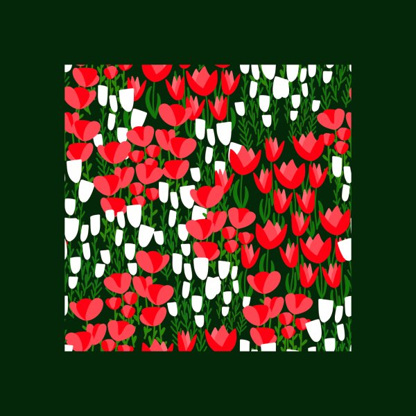 image for Spring Meadow with Red and White Flowers Pattern
