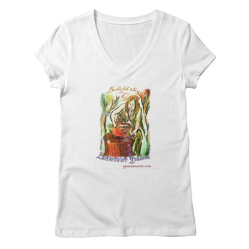 Earthenware Goddess Women's V-Neck by sparanoarts's Artist Shop