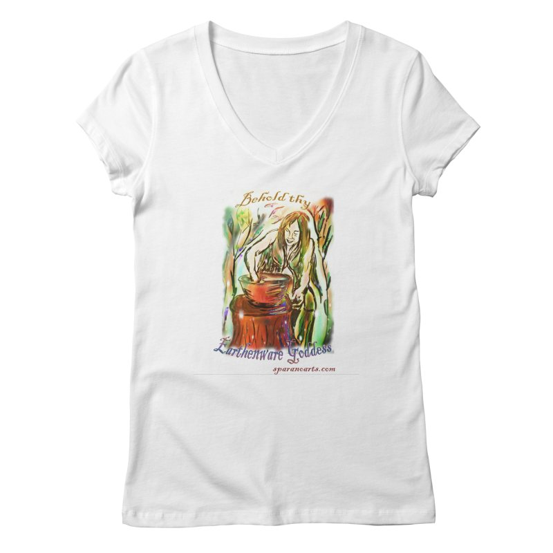 Earthenware Goddess Women's V-Neck by sparanoarts's Artist Shop