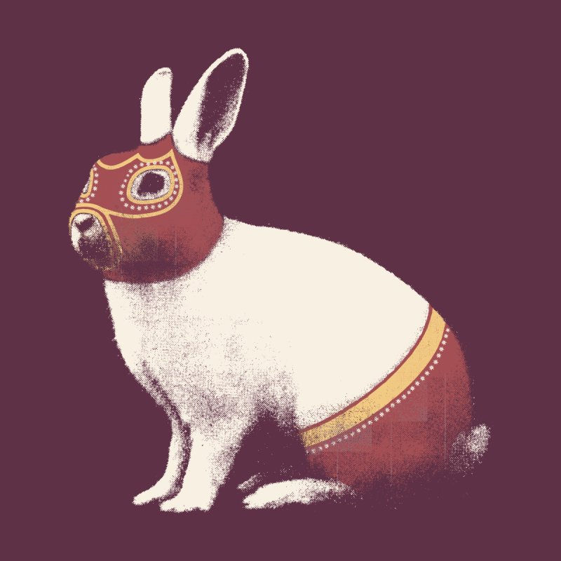 Rabbit Wrestler Kids Longsleeve T-Shirt by Speakerine / Florent Bodart