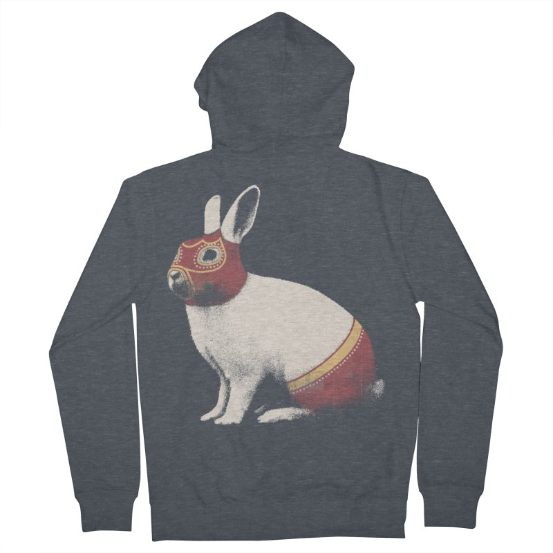 Rabbit Wrestler Women's French Terry Zip-Up Hoody by Speakerine / Florent Bodart