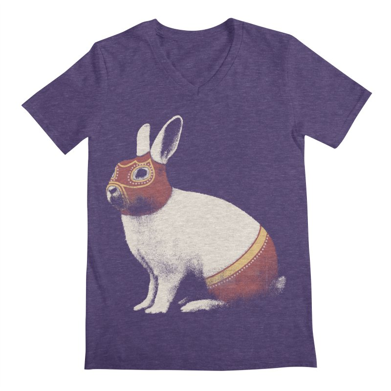 Rabbit Wrestler Men's V-Neck by Speakerine / Florent Bodart