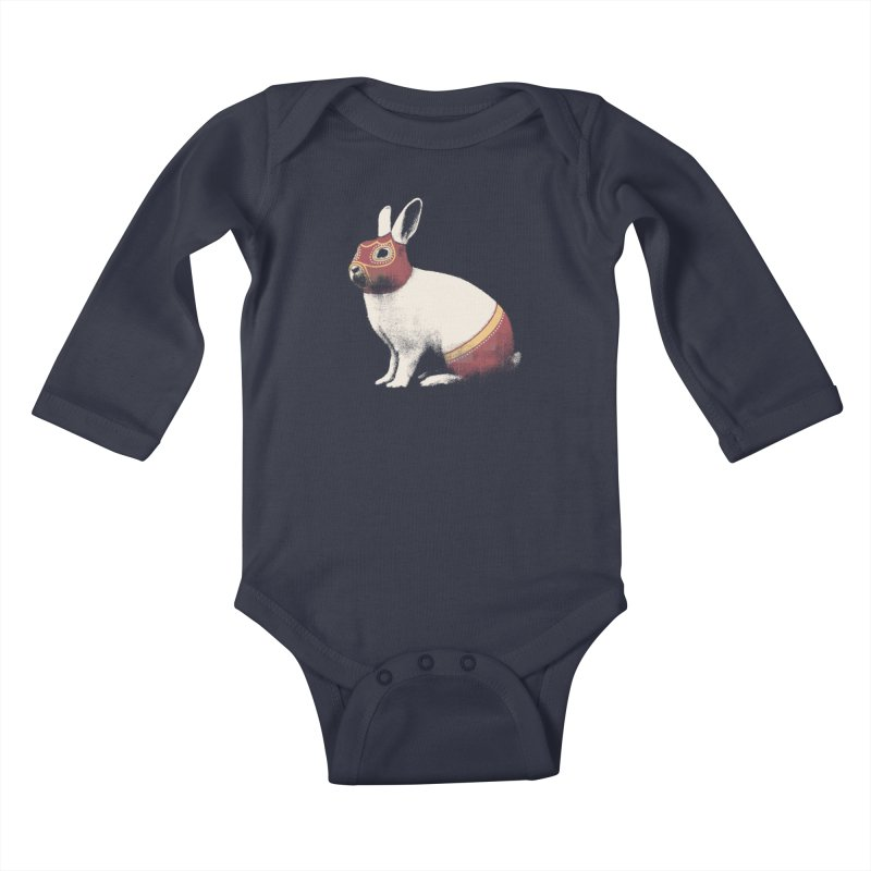 Rabbit Wrestler Kids Baby Longsleeve Bodysuit by Speakerine / Florent Bodart