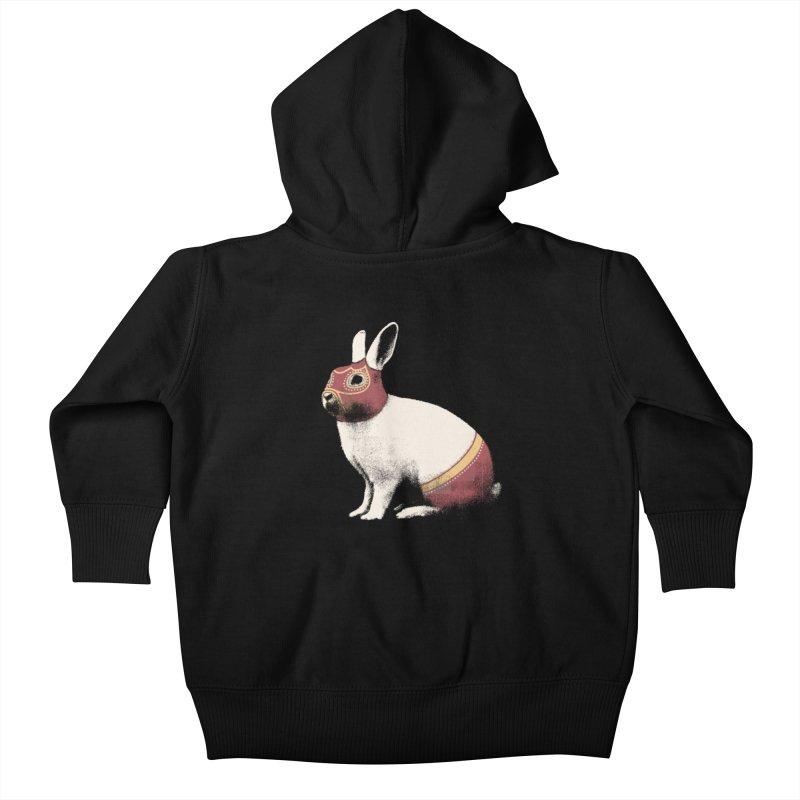 Rabbit Wrestler Kids Baby Zip-Up Hoody by Speakerine / Florent Bodart