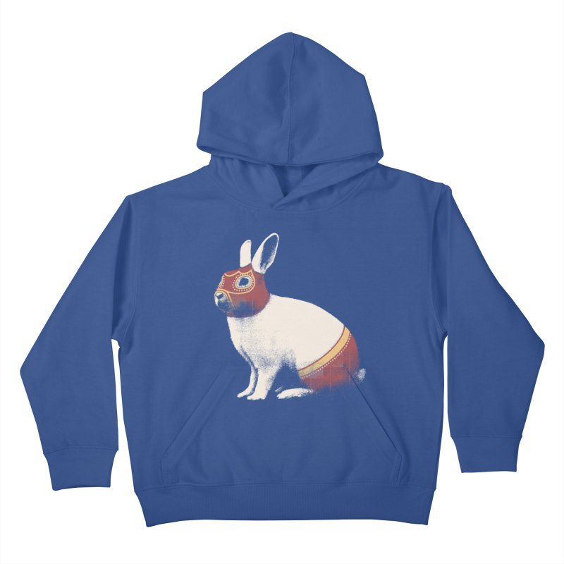 Rabbit Wrestler Kids Pullover Hoody by Speakerine / Florent Bodart
