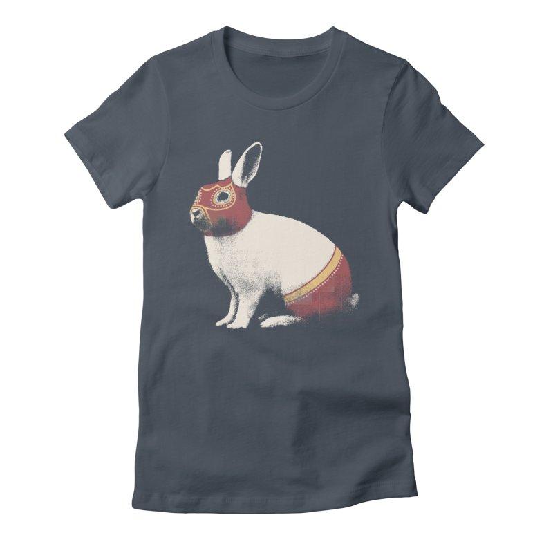 Rabbit Wrestler Women's Fitted T-Shirt by Speakerine / Florent Bodart