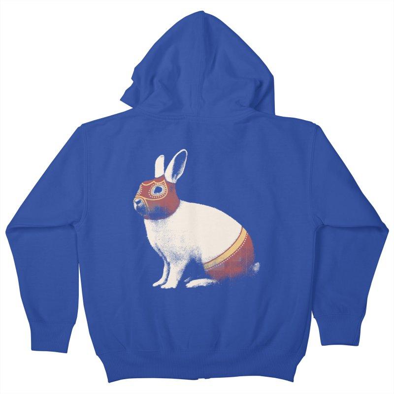 Rabbit Wrestler Kids Zip-Up Hoody by Speakerine / Florent Bodart