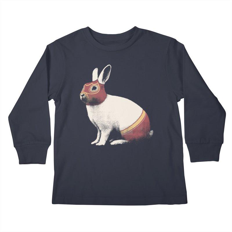 Rabbit Wrestler Kids Longsleeve T-Shirt by Speakerine / Florent Bodart