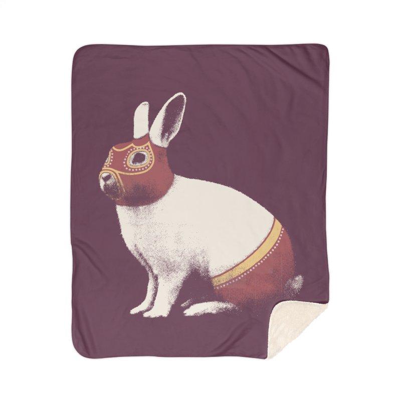 Rabbit Wrestler Home Sherpa Blanket Blanket by Speakerine / Florent Bodart
