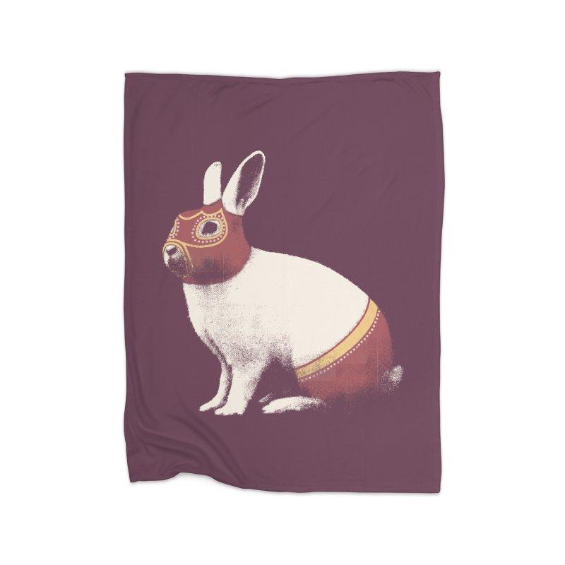 Rabbit Wrestler Home Blanket by Speakerine / Florent Bodart