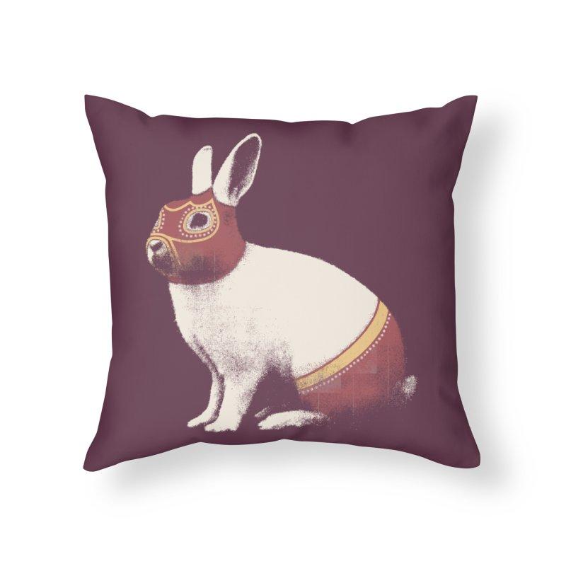 Rabbit Wrestler in Throw Pillow by Speakerine / Florent Bodart