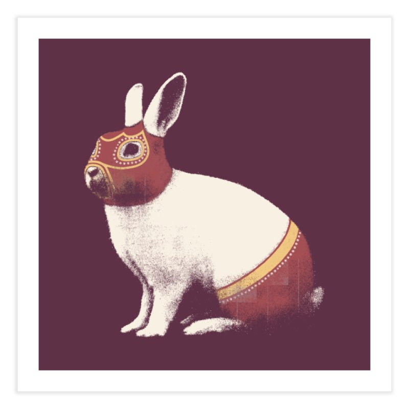 Rabbit Wrestler Home Fine Art Print by Speakerine / Florent Bodart