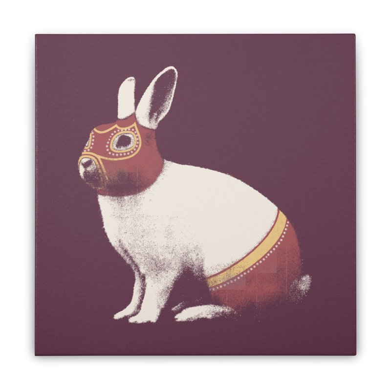 Rabbit Wrestler Home Stretched Canvas by Speakerine / Florent Bodart