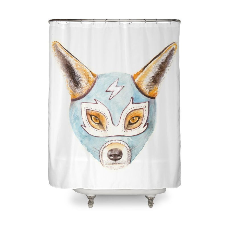 Andrew, the Fox Wrestler Home Shower Curtain by Speakerine / Florent Bodart