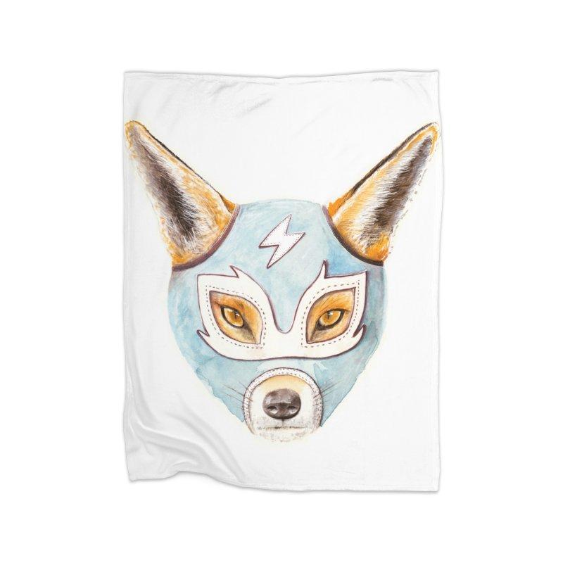Andrew, the Fox Wrestler Home Fleece Blanket Blanket by Speakerine / Florent Bodart