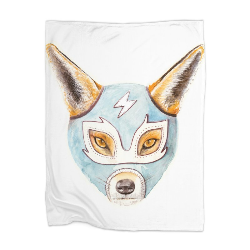Andrew, the Fox Wrestler Home Blanket by Speakerine / Florent Bodart