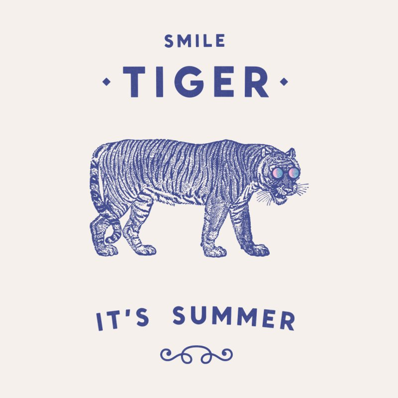 Smile Tiger Home Stretched Canvas by Speakerine / Florent Bodart