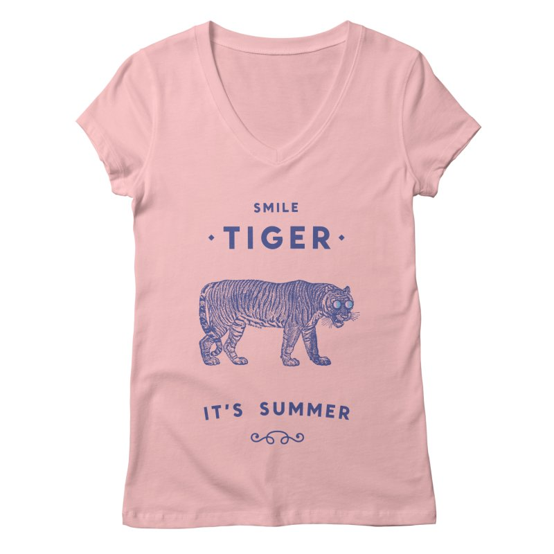 Smile Tiger Women's Regular V-Neck by Speakerine / Florent Bodart