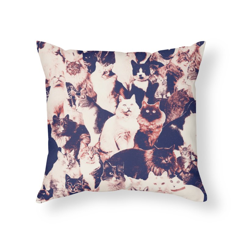Cats Forever Home Throw Pillow by Speakerine / Florent Bodart