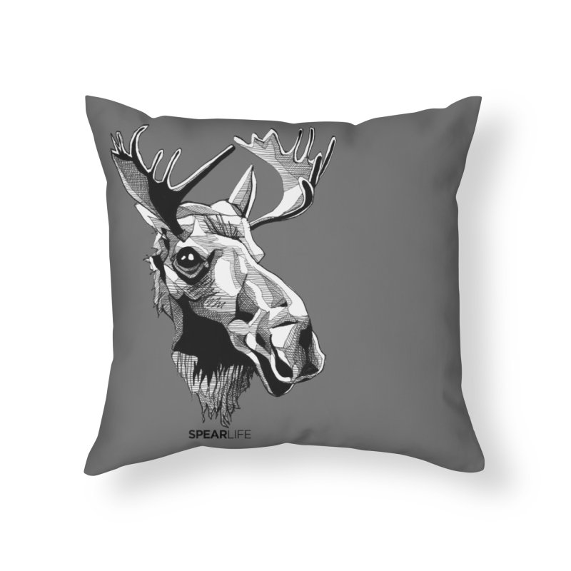 The Moose Home Throw Pillow by Spearlife Store - Original Art from Me to You