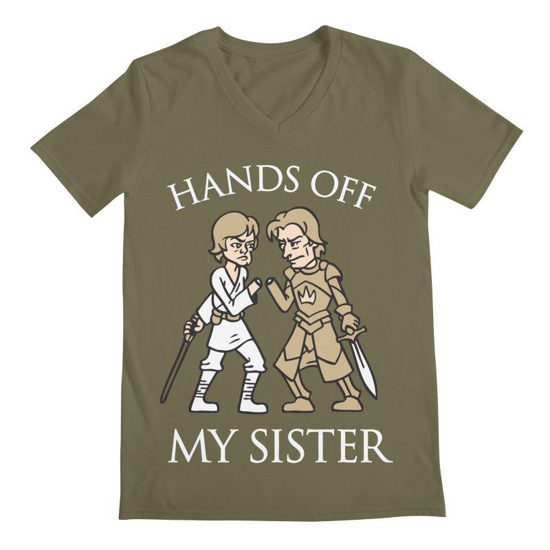 Hands Off My Sister Men's V-Neck by Spencer Fruhling's Artist Shop