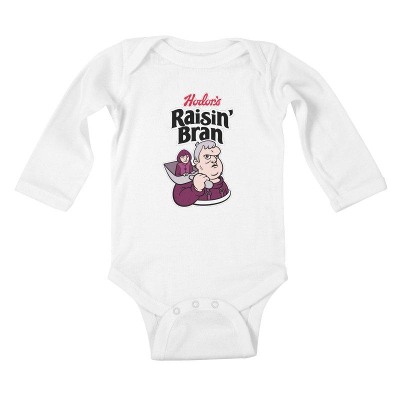 Hodor's Raisin' Bran Kids Baby Longsleeve Bodysuit by Spencer Fruhling's Artist Shop