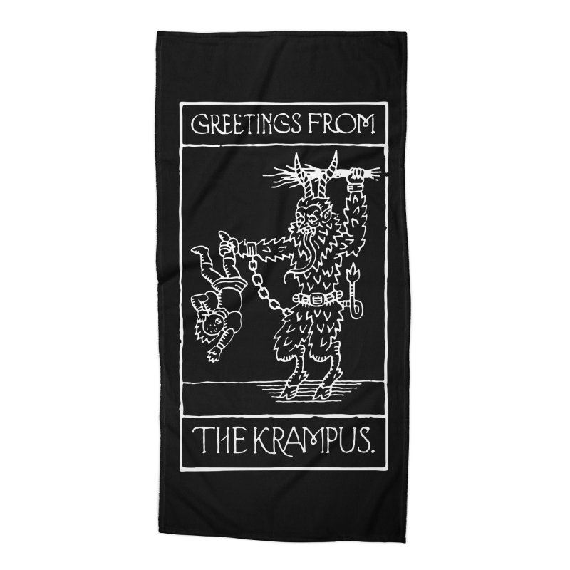 Greetings from the Krampus Accessories Beach Towel by Spencer Fruhling's Artist Shop
