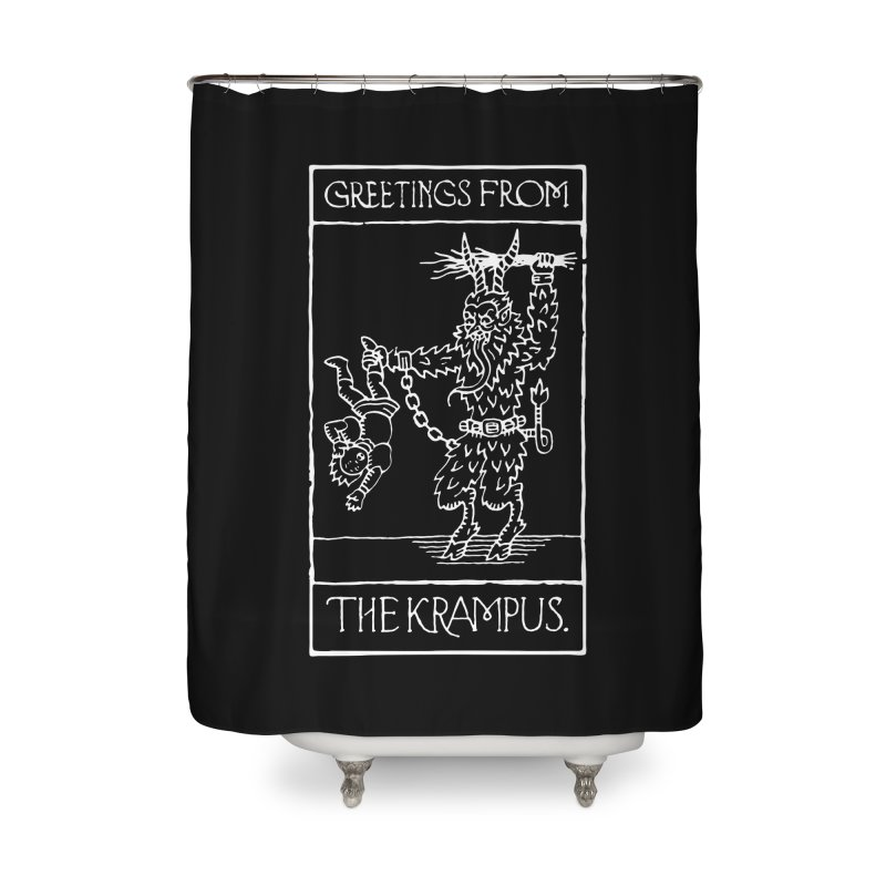 Greetings from the Krampus Home Shower Curtain by Spencer Fruhling's Artist Shop