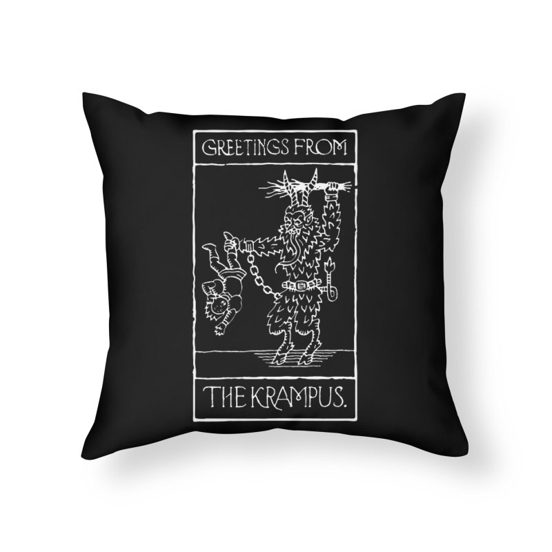 Greetings from the Krampus Home Throw Pillow by Spencer Fruhling's Artist Shop