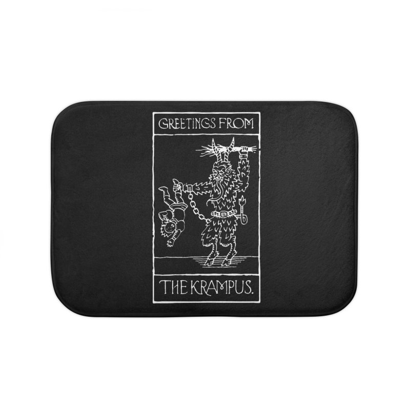 Greetings from the Krampus Home Bath Mat by Spencer Fruhling's Artist Shop