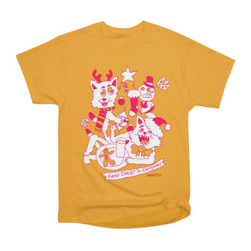 Catfriend Chrismas Lovers Men's Heavyweight T-Shirt by Spencer Fruhling's Artist Shop