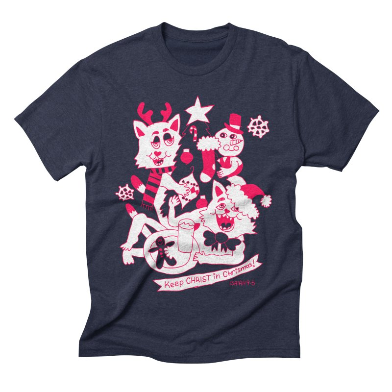 Catfriend Chrismas Lovers Men's Triblend T-Shirt by Spencer Fruhling's Artist Shop