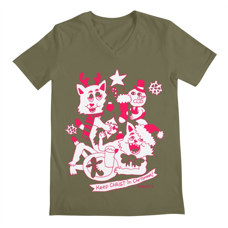 Catfriend Chrismas Lovers Men's V-Neck by Spencer Fruhling's Artist Shop