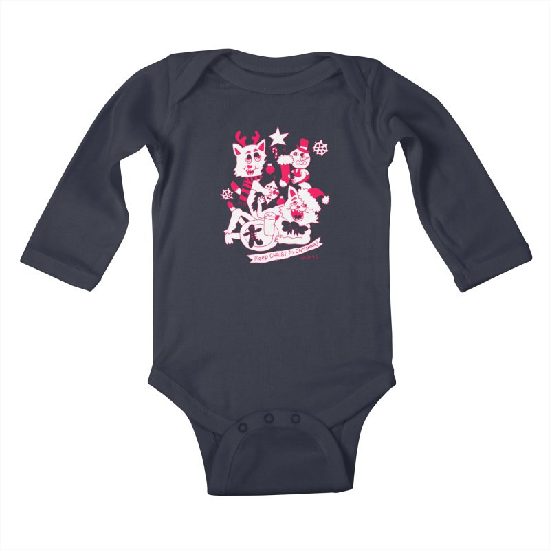Catfriend Chrismas Lovers Kids Baby Longsleeve Bodysuit by Spencer Fruhling's Artist Shop