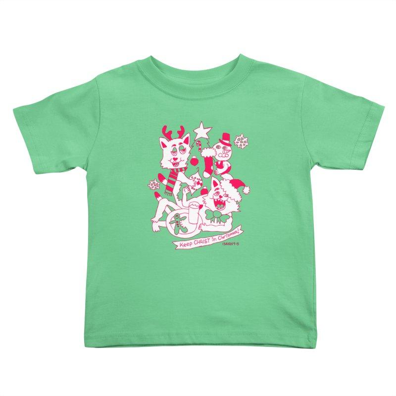 Catfriend Chrismas Lovers Kids Toddler T-Shirt by Spencer Fruhling's Artist Shop