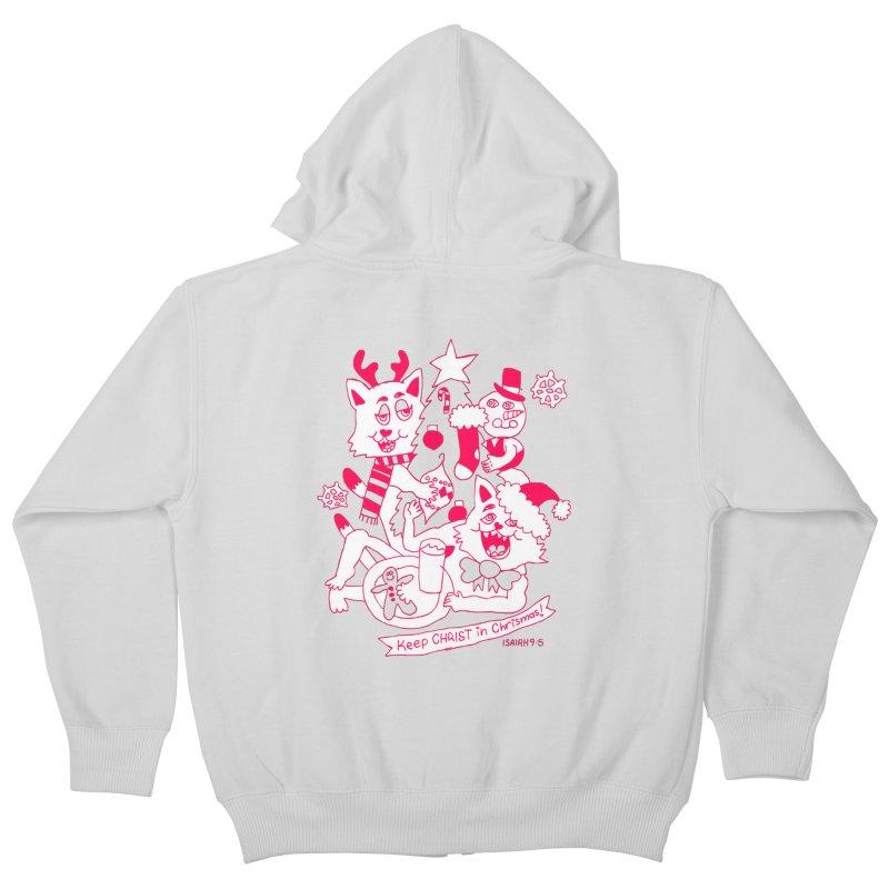Catfriend Chrismas Lovers Kids Zip-Up Hoody by Spencer Fruhling's Artist Shop