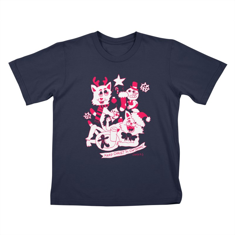 Catfriend Chrismas Lovers Kids T-Shirt by Spencer Fruhling's Artist Shop