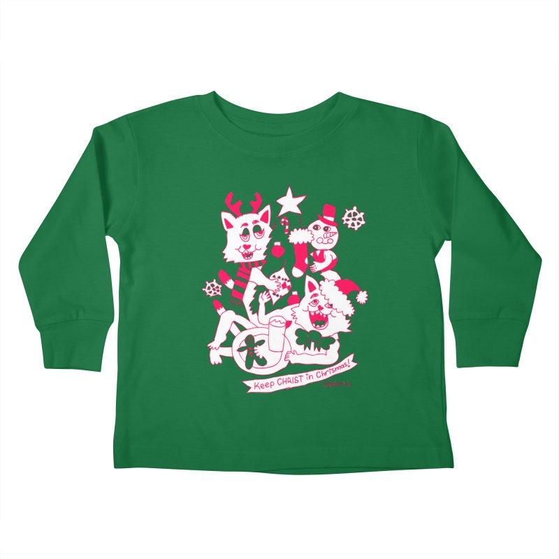 Catfriend Chrismas Lovers Kids Toddler Longsleeve T-Shirt by Spencer Fruhling's Artist Shop