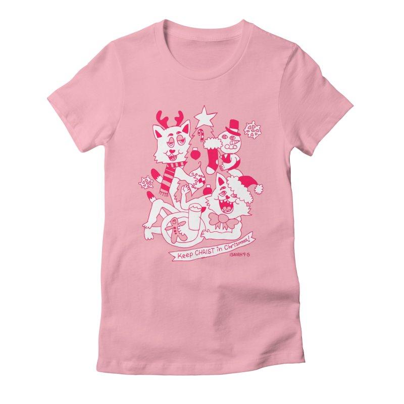Catfriend Chrismas Lovers Women's Fitted T-Shirt by Spencer Fruhling's Artist Shop