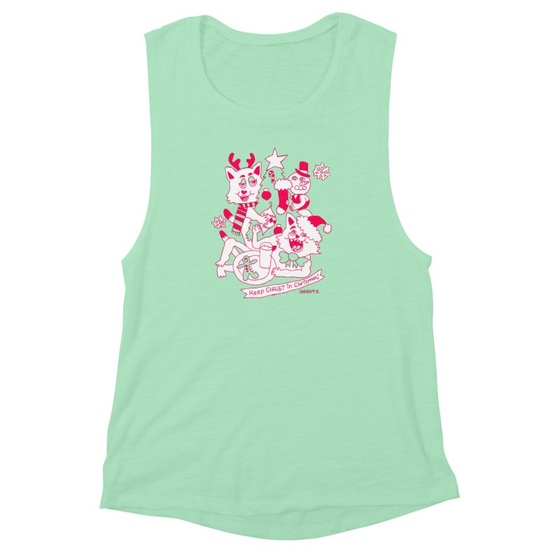 Catfriend Chrismas Lovers Women's Muscle Tank by Spencer Fruhling's Artist Shop