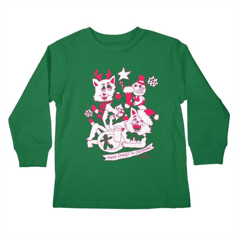 Catfriend Chrismas Lovers Kids Longsleeve T-Shirt by Spencer Fruhling's Artist Shop