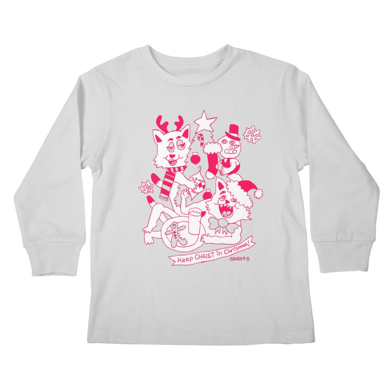 Catfriend Chrismas Lovers Kids Longsleeve T-Shirt by Spencer Fruhling's Artist Shop